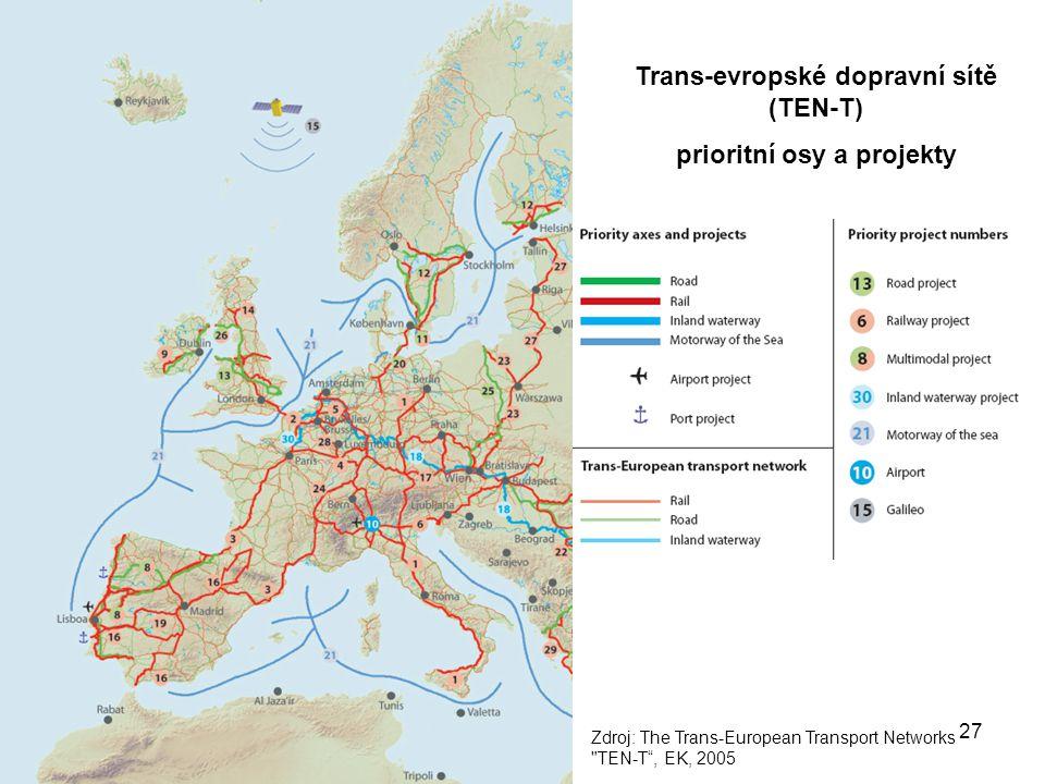 Trans-evropské dopravní sítě (TEN-T) prioritní osy a projekty