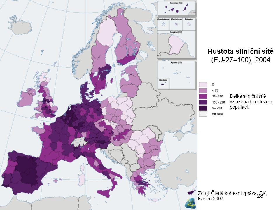 Hustota silniční sítě (EU-27=100), 2004