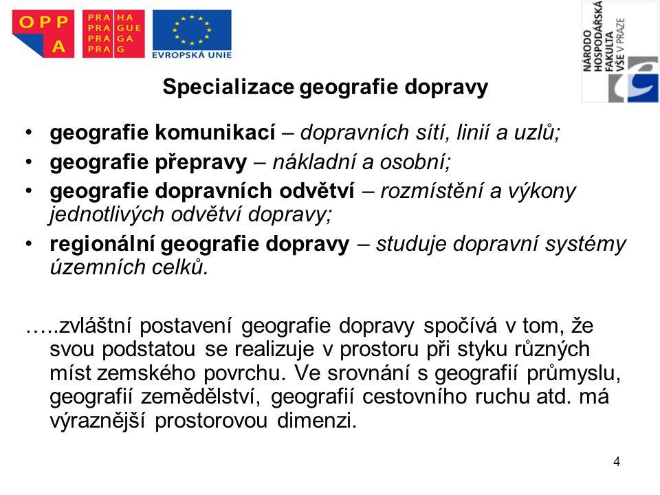 Specializace geografie dopravy