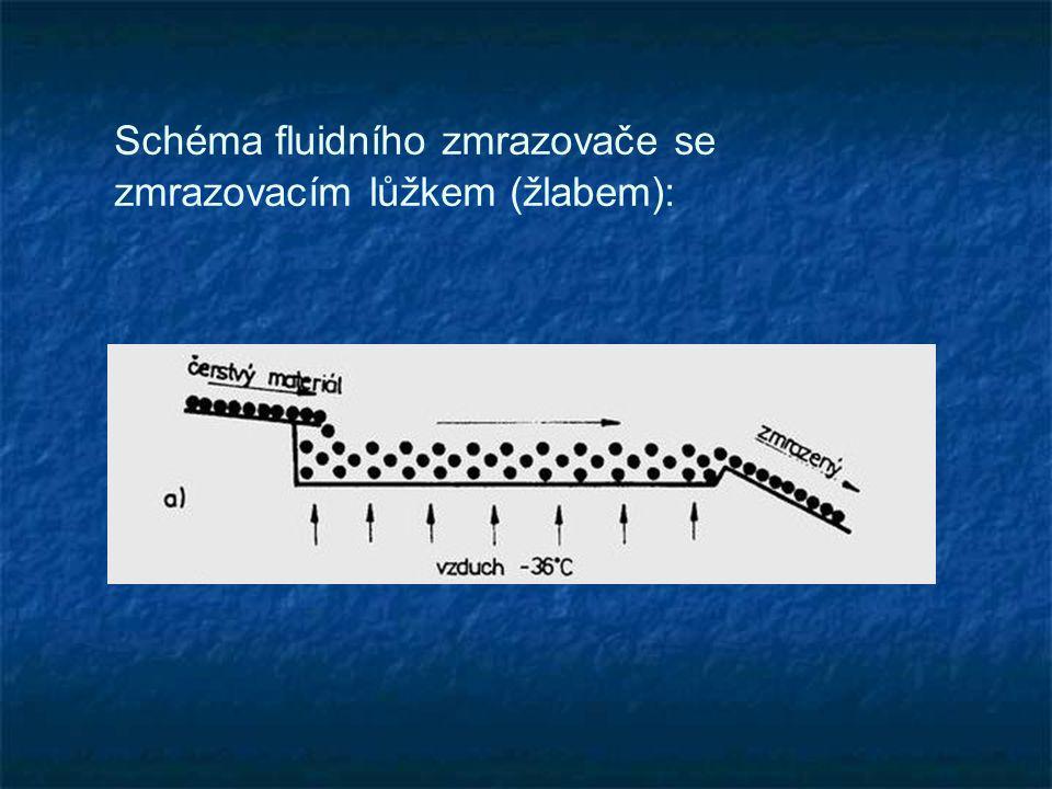 Schéma fluidního zmrazovače se zmrazovacím lůžkem (žlabem):