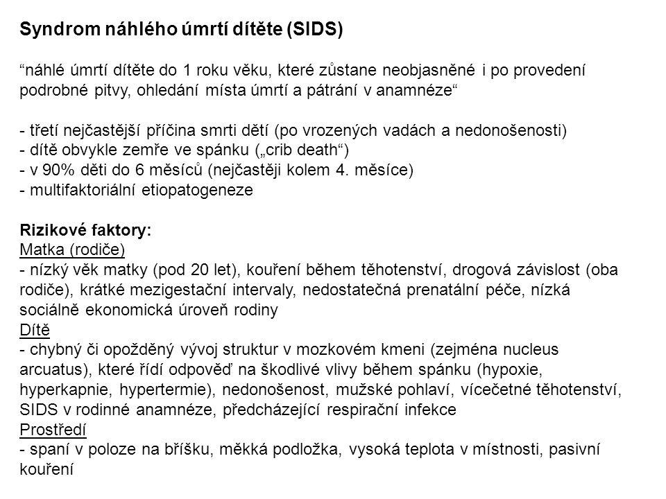 Syndrom náhlého úmrtí dítěte (SIDS)