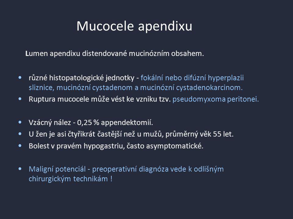Mucocele apendixu Lumen apendixu distendované mucinózním obsahem.