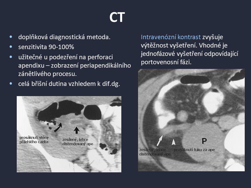 CT doplňková diagnostická metoda. senzitivita 90-100%