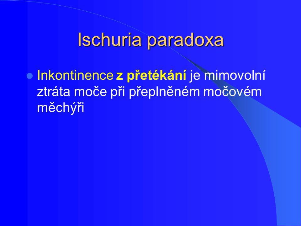 Ischuria paradoxa Inkontinence z přetékání je mimovolní ztráta moče při přeplněném močovém měchýři