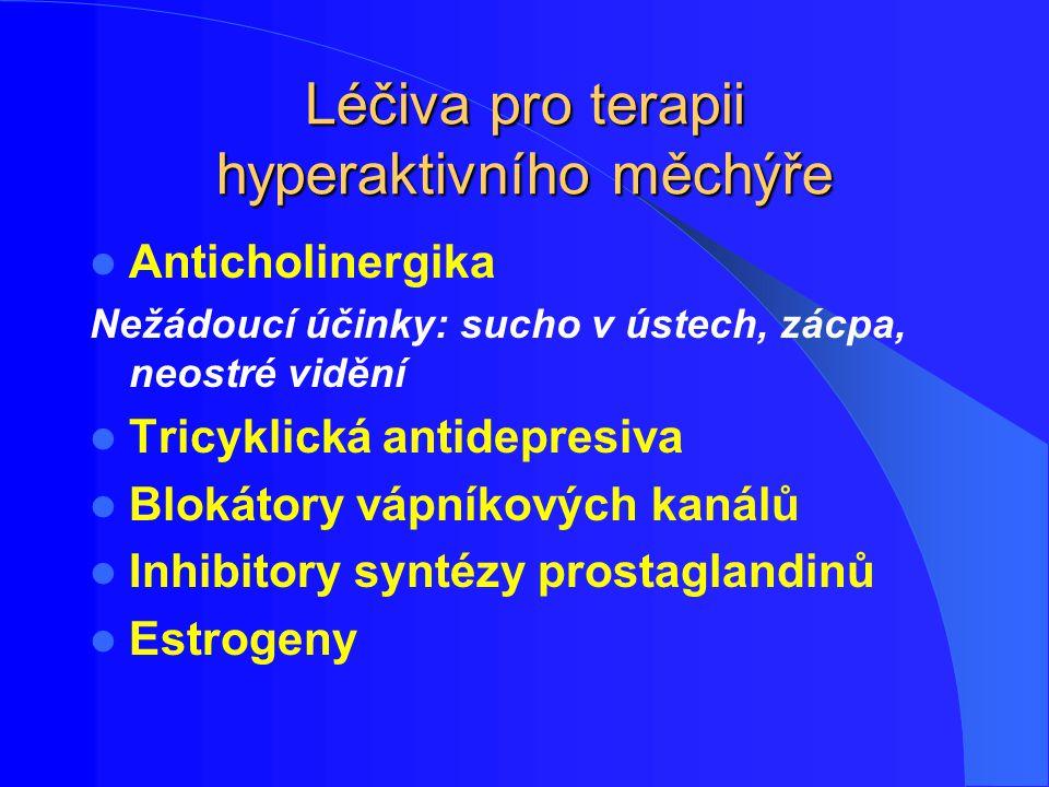 Léčiva pro terapii hyperaktivního měchýře