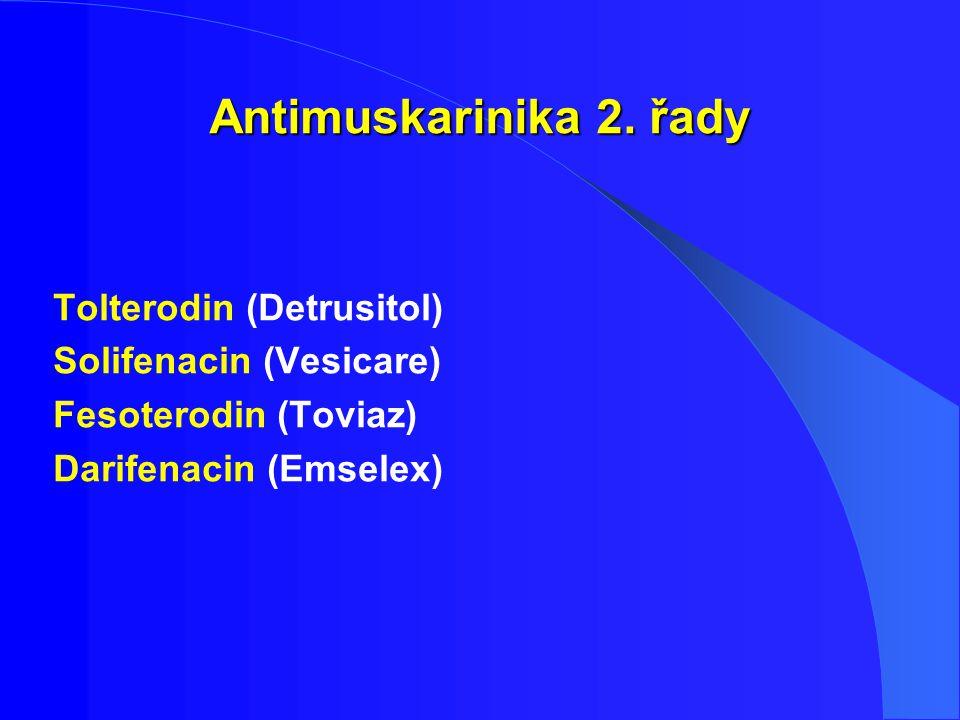 Antimuskarinika 2. řady Tolterodin (Detrusitol) Solifenacin (Vesicare)