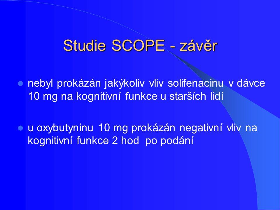 Studie SCOPE - závěr nebyl prokázán jakýkoliv vliv solifenacinu v dávce 10 mg na kognitivní funkce u starších lidí.