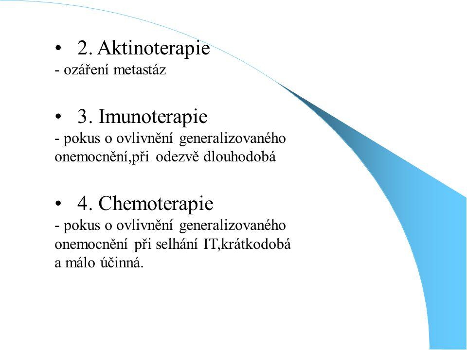 2. Aktinoterapie 3. Imunoterapie 4. Chemoterapie - ozáření metastáz