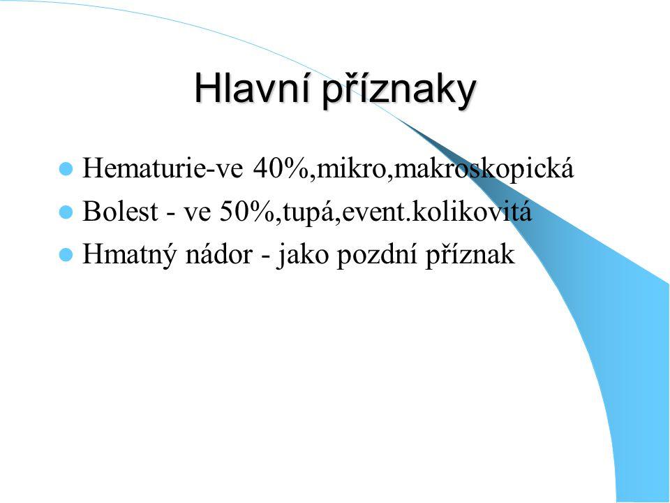 Hlavní příznaky Hematurie-ve 40%,mikro,makroskopická