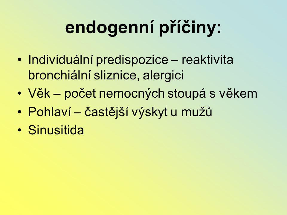 endogenní příčiny: Individuální predispozice – reaktivita bronchiální sliznice, alergici. Věk – počet nemocných stoupá s věkem.
