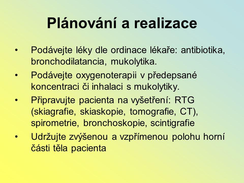 Plánování a realizace Podávejte léky dle ordinace lékaře: antibiotika, bronchodilatancia, mukolytika.