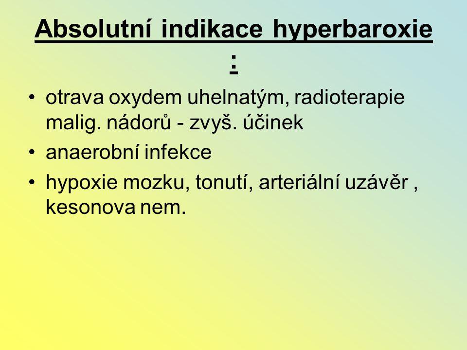 Absolutní indikace hyperbaroxie :