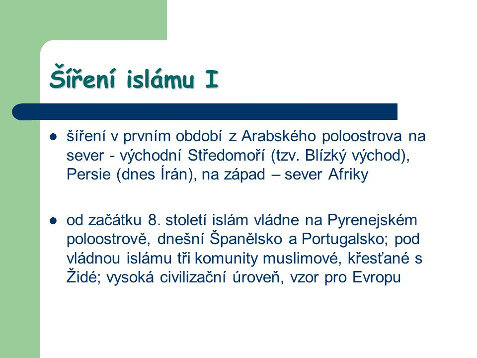 Šíření islámu I
