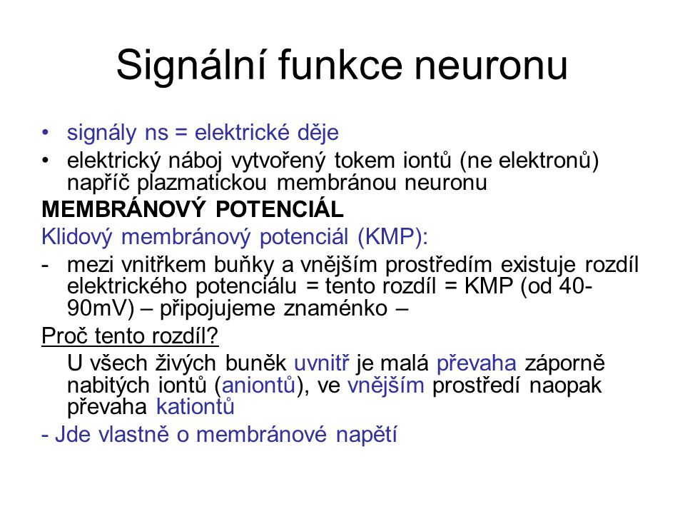 Signální funkce neuronu