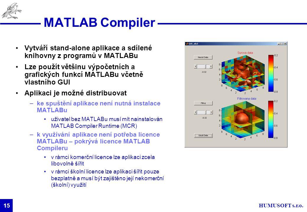MATLAB Compiler Vytváří stand-alone aplikace a sdílené knihovny z programů v MATLABu.