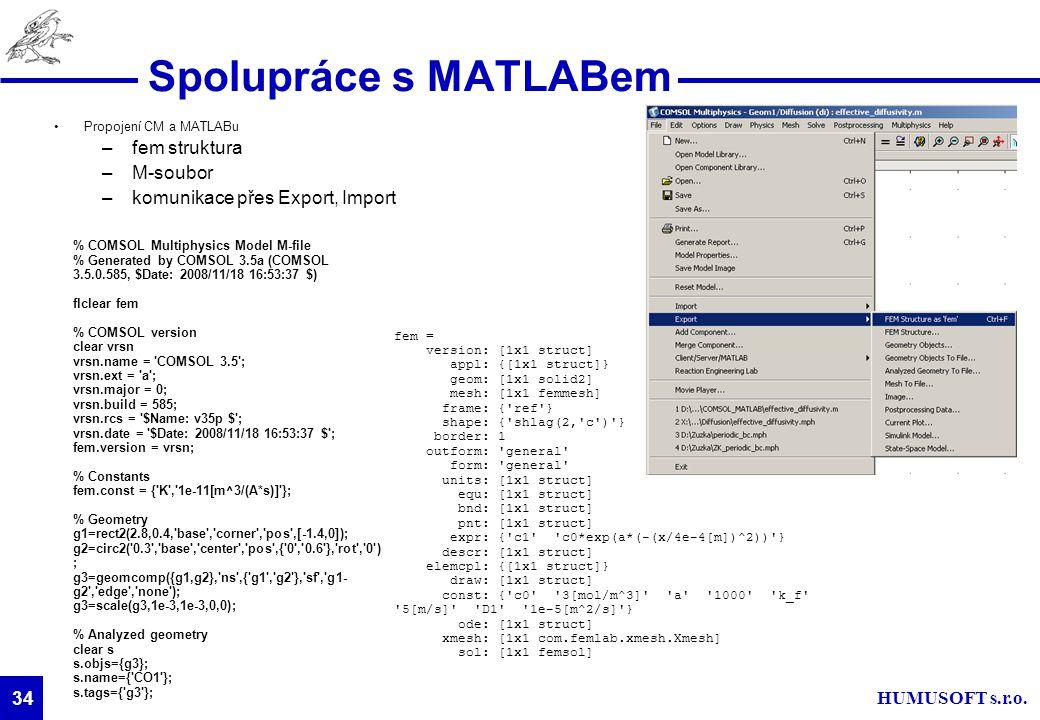 Spolupráce s MATLABem fem struktura M-soubor