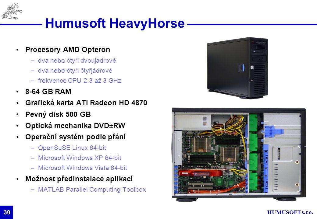 Humusoft HeavyHorse Procesory AMD Opteron 8-64 GB RAM