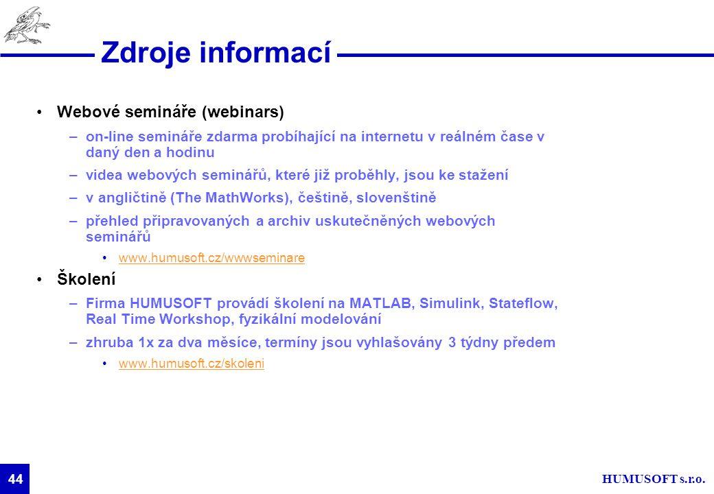 Zdroje informací Webové semináře (webinars) Školení