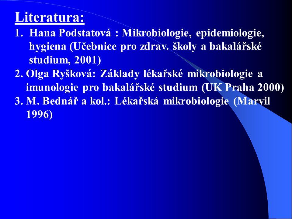 Literatura: Hana Podstatová : Mikrobiologie, epidemiologie,