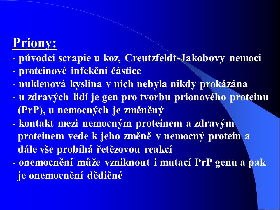 Priony: původci scrapie u koz, Creutzfeldt-Jakobovy nemoci