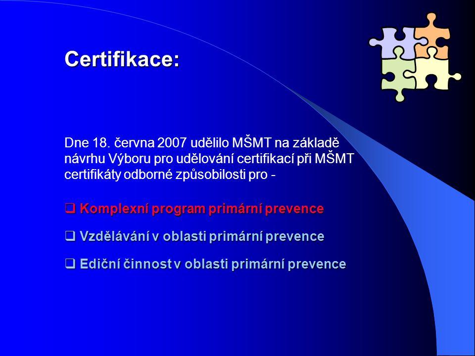 Certifikace: Dne 18. června 2007 udělilo MŠMT na základě návrhu Výboru pro udělování certifikací při MŠMT certifikáty odborné způsobilosti pro -