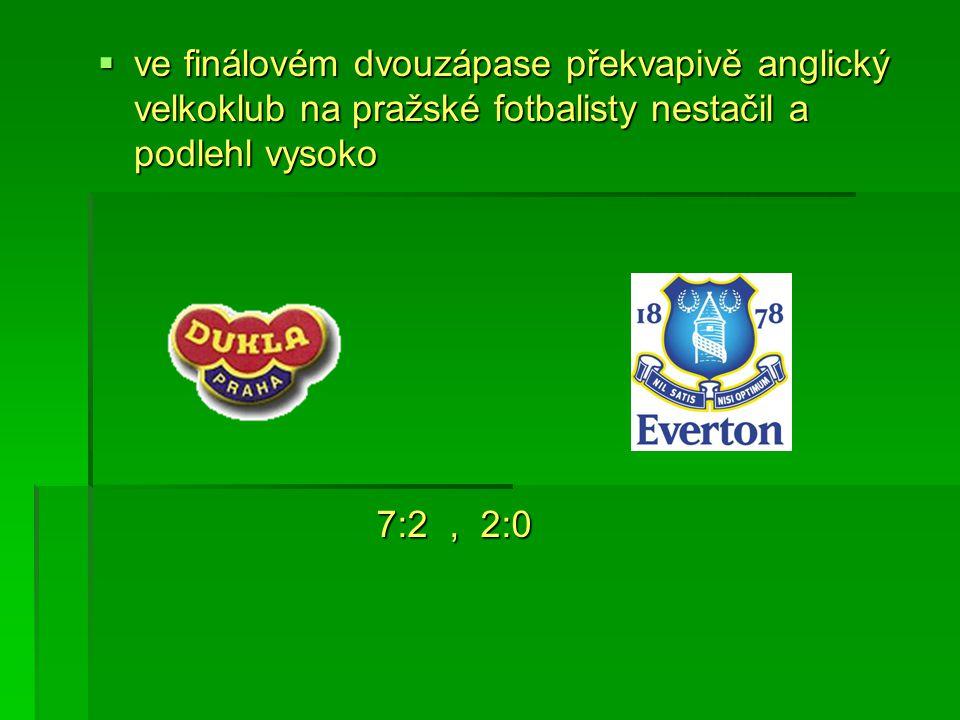 ve finálovém dvouzápase překvapivě anglický velkoklub na pražské fotbalisty nestačil a podlehl vysoko