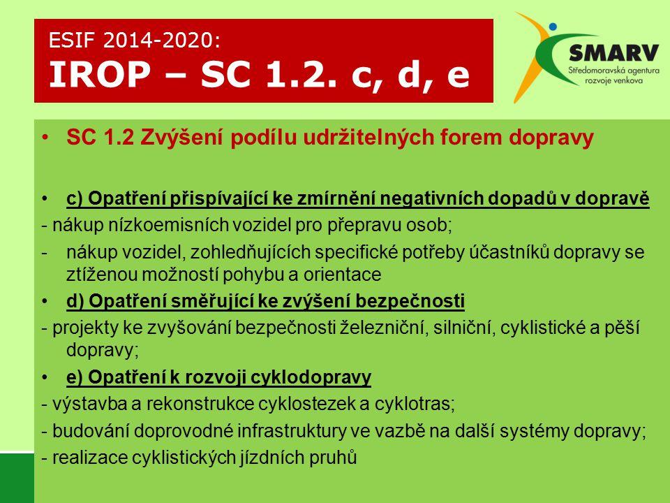 SC 1.2 Zvýšení podílu udržitelných forem dopravy