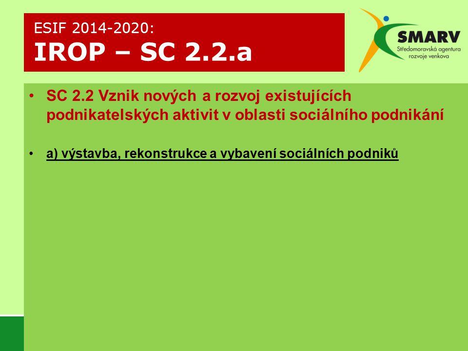 ESIF 2014-2020: IROP – SC 2.2.a SC 2.2 Vznik nových a rozvoj existujících podnikatelských aktivit v oblasti sociálního podnikání.