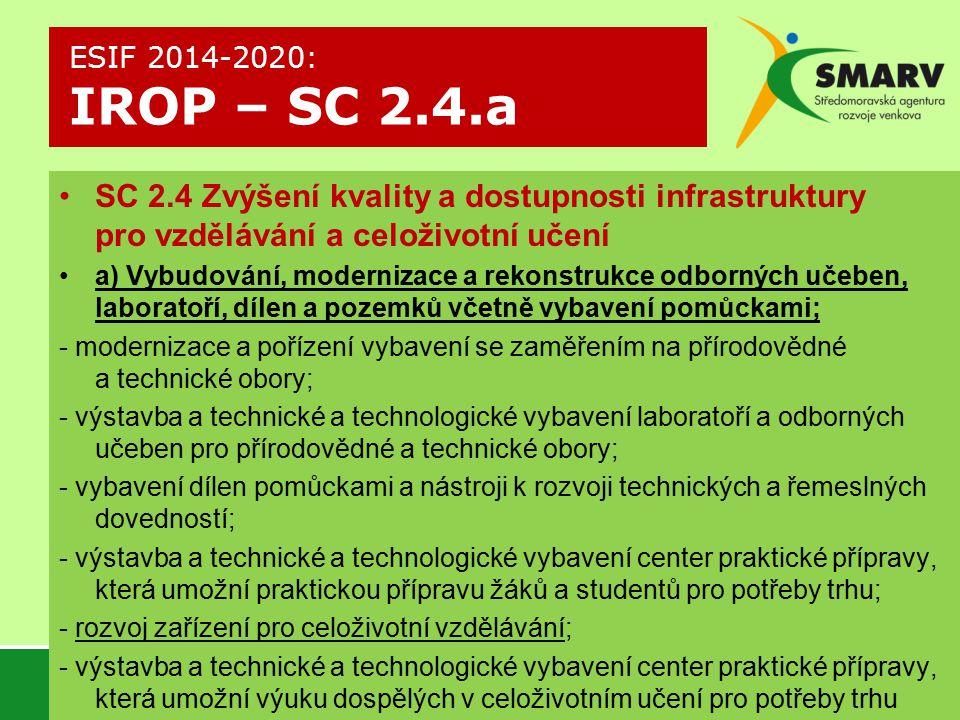 ESIF 2014-2020: IROP – SC 2.4.a SC 2.4 Zvýšení kvality a dostupnosti infrastruktury pro vzdělávání a celoživotní učení.