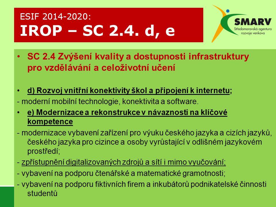 ESIF 2014-2020: IROP – SC 2.4. d, e SC 2.4 Zvýšení kvality a dostupnosti infrastruktury pro vzdělávání a celoživotní učení.