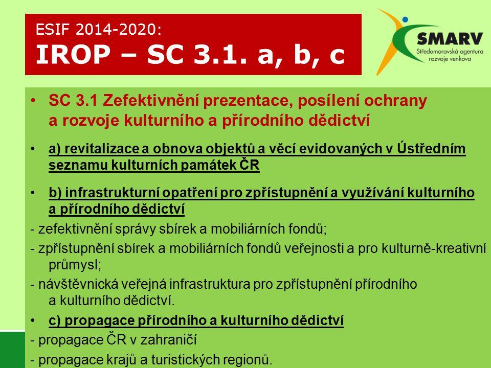 ESIF 2014-2020: IROP – SC 3.1. a, b, c SC 3.1 Zefektivnění prezentace, posílení ochrany a rozvoje kulturního a přírodního dědictví.