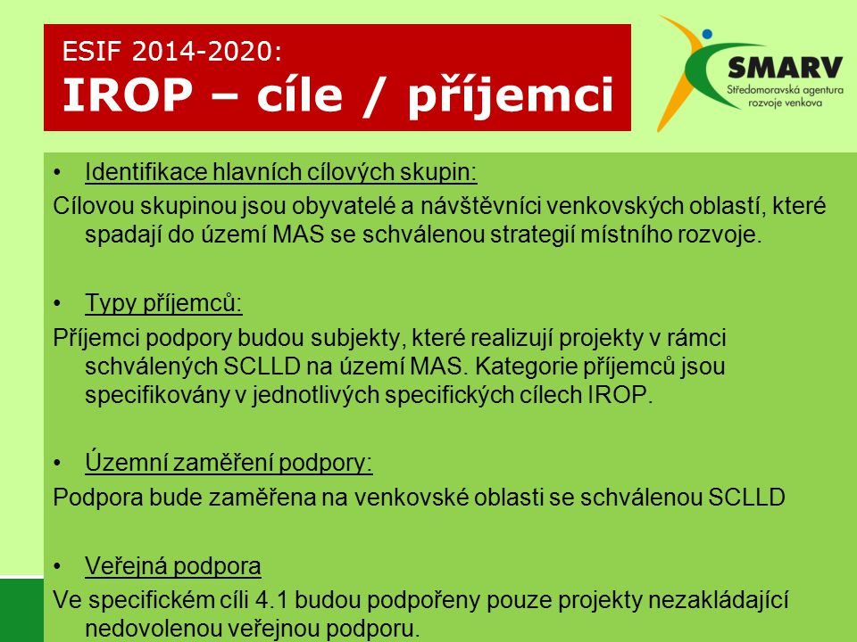 ESIF 2014-2020: IROP – cíle / příjemci