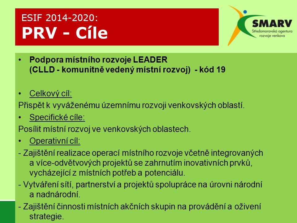 ESIF 2014-2020: PRV - Cíle Podpora místního rozvoje LEADER (CLLD - komunitně vedený místní rozvoj) - kód 19.