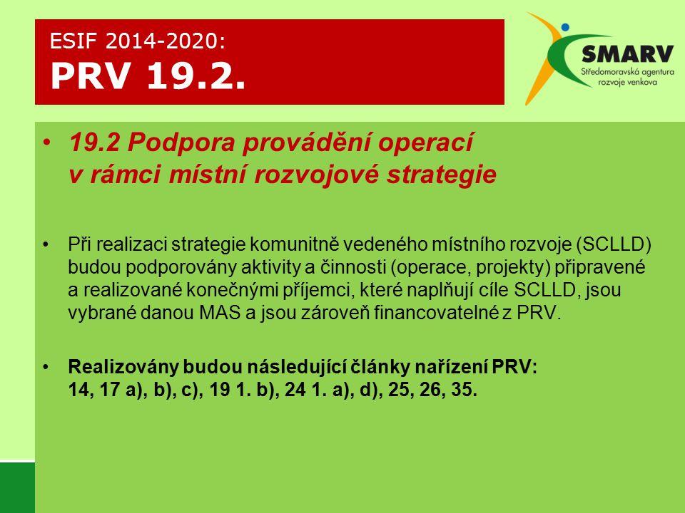 19.2 Podpora provádění operací v rámci místní rozvojové strategie