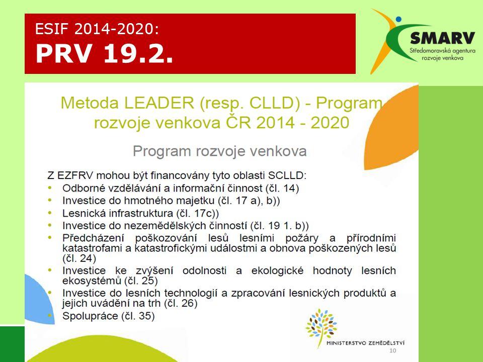 ESIF 2014-2020: PRV 19.2.