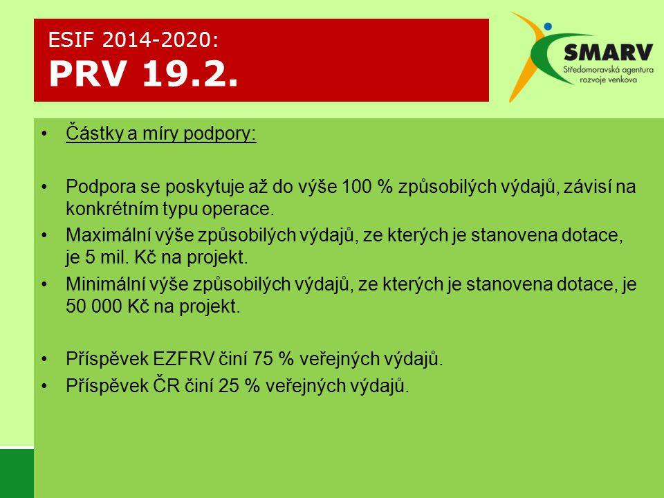ESIF 2014-2020: PRV 19.2. Částky a míry podpory: