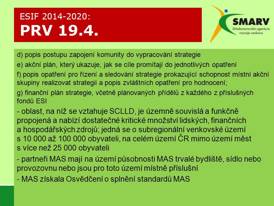 ESIF 2014-2020: PRV 19.4. d) popis postupu zapojení komunity do vypracování strategie.
