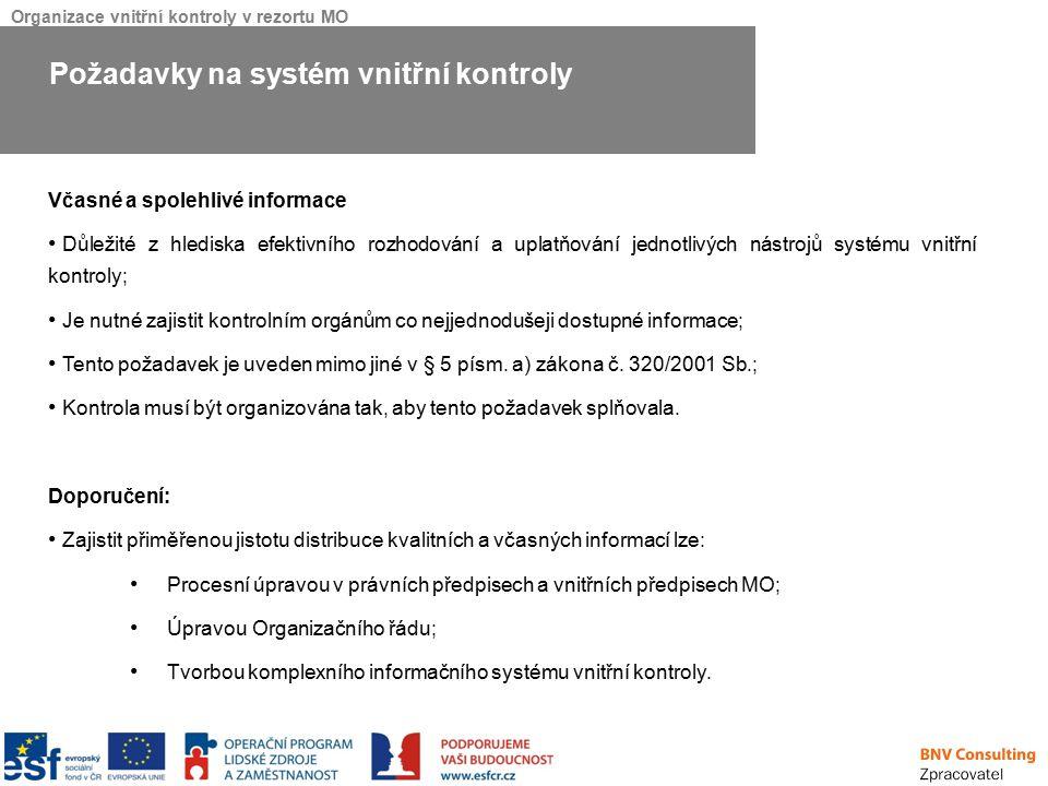 Požadavky na systém vnitřní kontroly