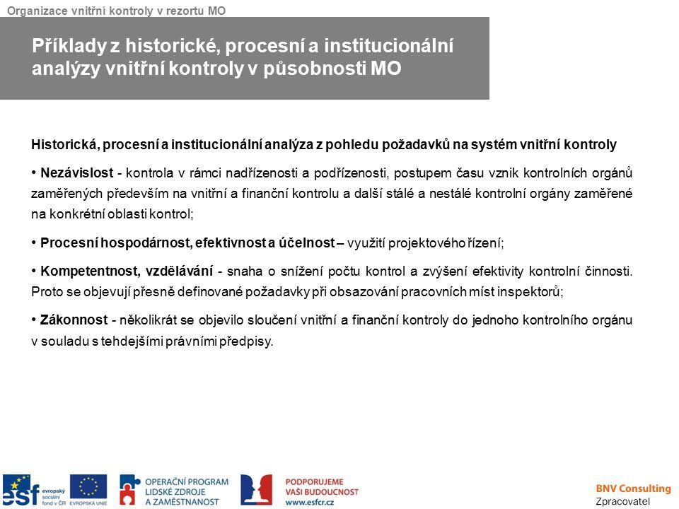 Příklady z historické, procesní a institucionální analýzy vnitřní kontroly v působnosti MO