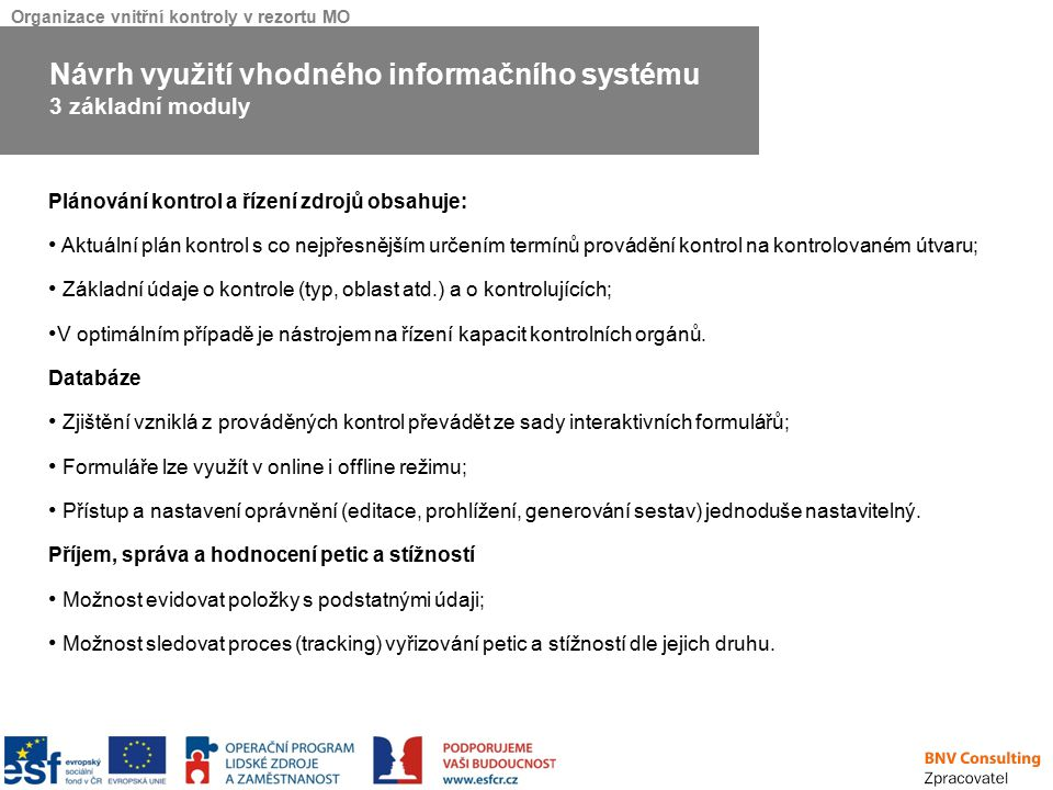 Návrh využití vhodného informačního systému