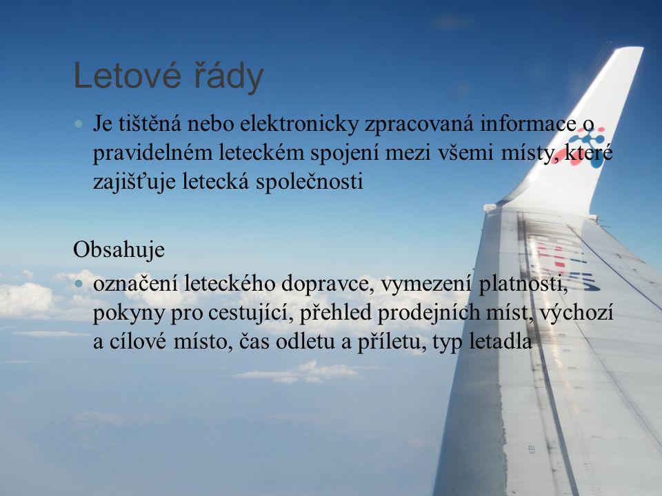 Letové řády Je tištěná nebo elektronicky zpracovaná informace o pravidelném leteckém spojení mezi všemi místy, které zajišťuje letecká společnosti.
