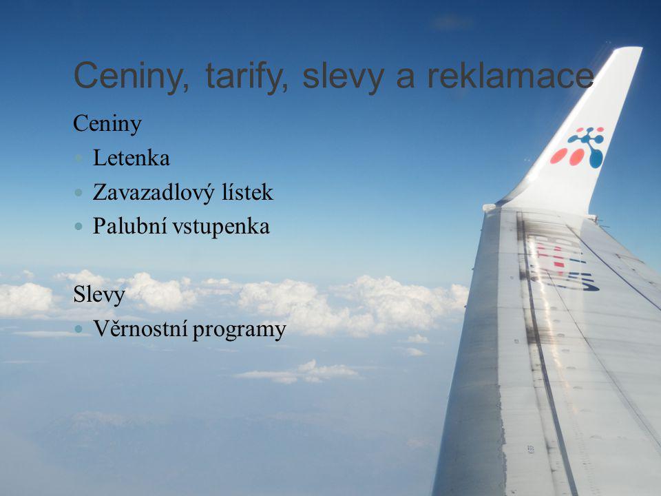Ceniny, tarify, slevy a reklamace