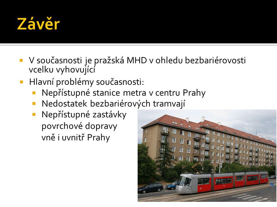 Závěr V současnosti je pražská MHD v ohledu bezbariérovosti vcelku vyhovující. Hlavní problémy současnosti:
