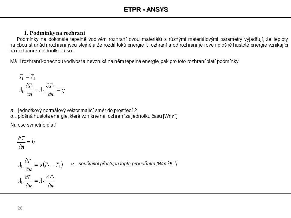ETPR - ANSYS Podmínky na rozhraní