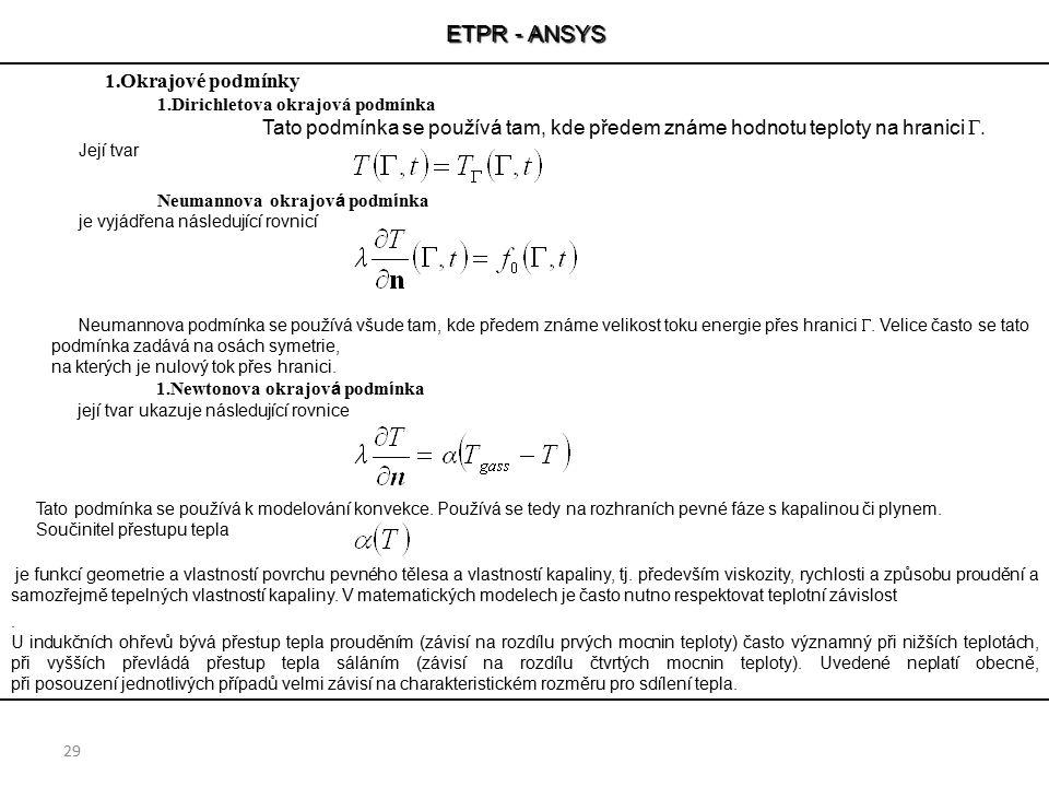 ETPR - ANSYS Okrajové podmínky Dirichletova okrajová podmínka