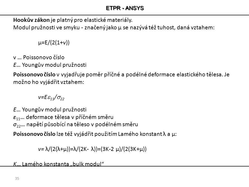 Hookův zákon je platný pro elastické materiály.