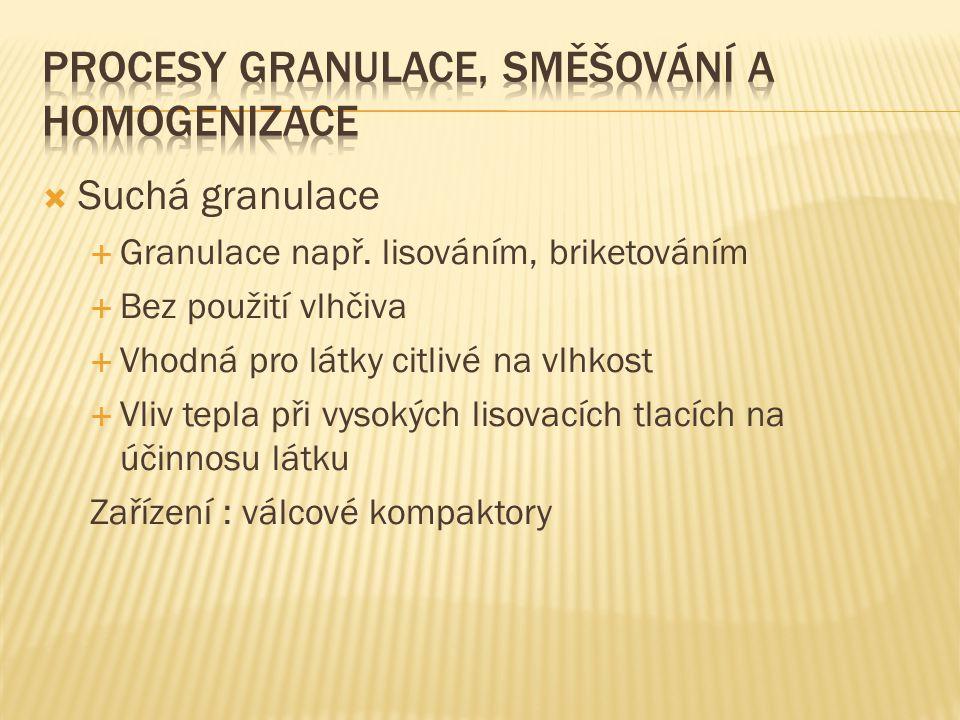 Procesy granulace, směšování a homogenizace