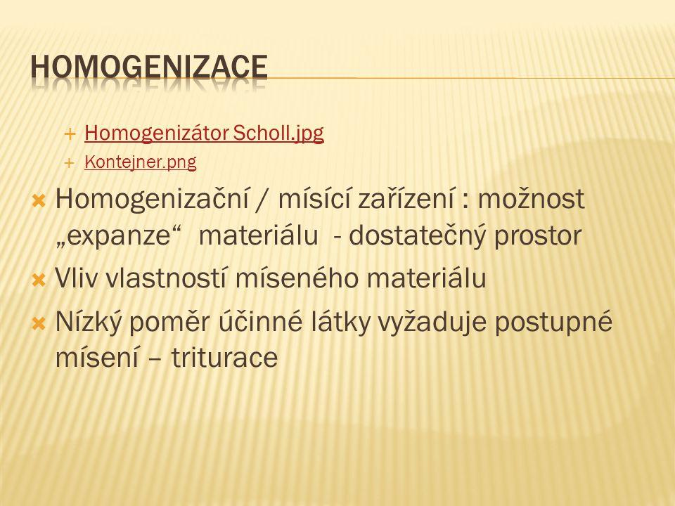 """Homogenizace Homogenizátor Scholl.jpg. Kontejner.png. Homogenizační / mísící zařízení : možnost """"expanze materiálu - dostatečný prostor."""