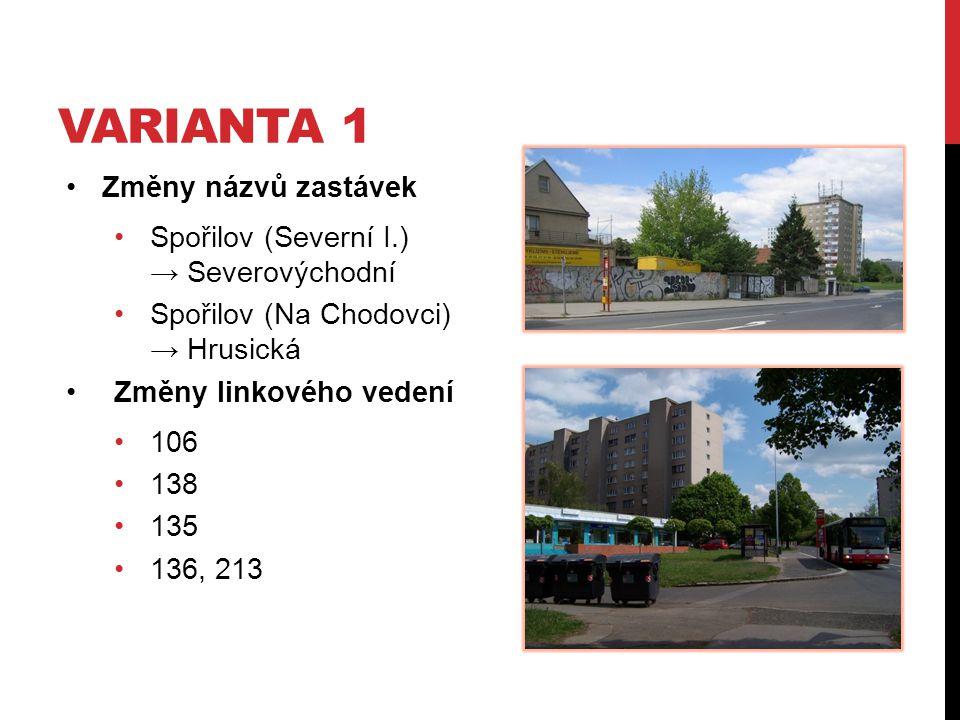 Varianta 1 Změny názvů zastávek Spořilov (Severní I.) → Severovýchodní