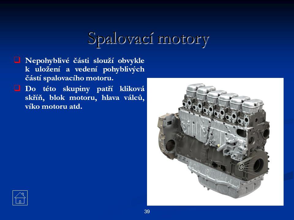Spalovací motory Nepohyblivé části slouží obvykle k uložení a vedení pohyblivých částí spalovacího motoru.